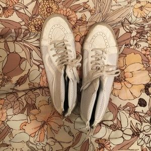 Vans: white perforated leather